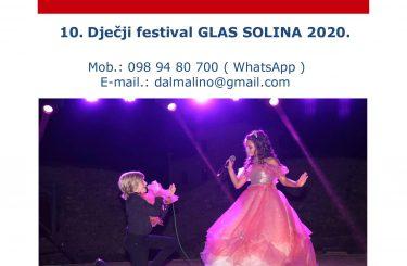 """10. Dječji festival """"GLAS SOLINA 2020."""" – prijave u tijeku!"""